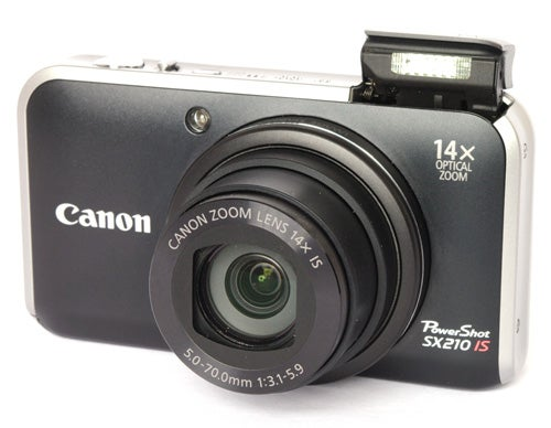 Canon PowerShot SX210 IS front angle