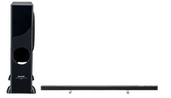 sharp sound bar. the ht-sl50 is fairly similar to ht-sl70 in that it features an amazingly slim soundbar and separate powered subwoofer, but this time there are some sharp sound bar