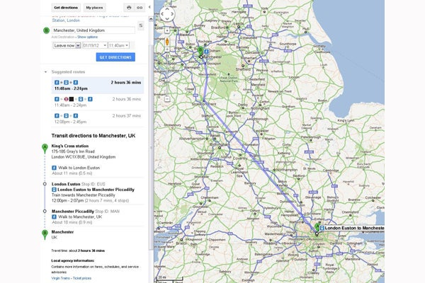 Google Maps Adds UK Train Times Trusted Reviews - London map manchester