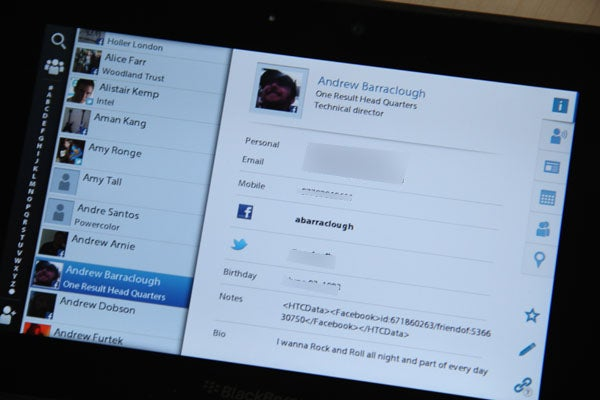 BlackBerry PlayBook with 2 0 Firmware – Contacts, Android