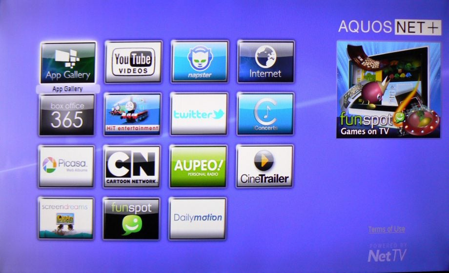 Sharp Aquos Net smart TV platform