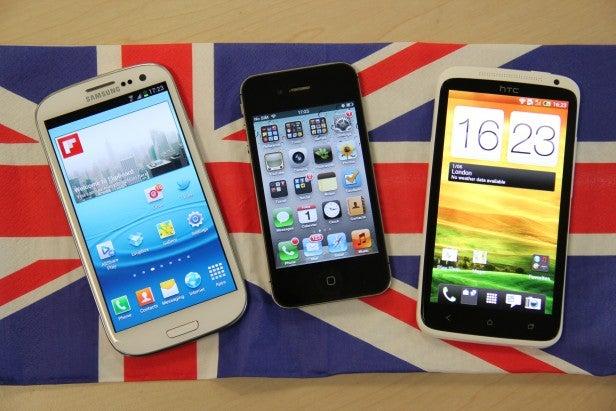 Samsung Galaxy S3 iPhone 4s HTC One X Union Jack