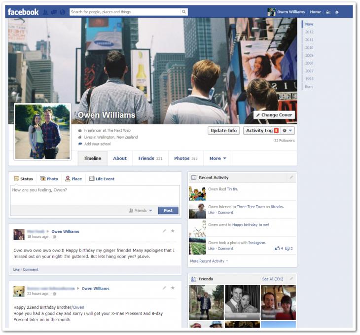 Facebook Timeline redesign
