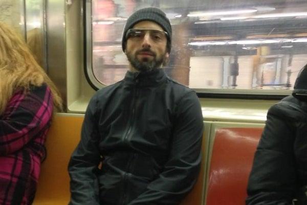 Sergey Brin wears Google Glass by Noah Zerkin