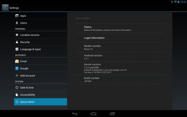 Google Nexus 10 9