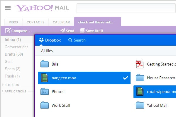 Yahoo Mail gets Dropbox integration