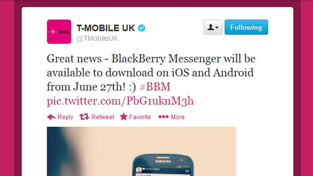 BBM coming to iOS and Android June 27