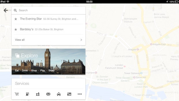 Google Maps 2.0 comes to iPad | Trusted Reviews on google maps for kindle fire, google play for ipad, gps maps for ipad, google maps for windows 8, google drive for ipad, google maps for android, google maps for iphone, google maps for windows phone, google chrome for ipad, google maps for car,