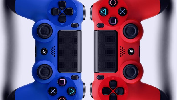 DualShock 4 in Magma Red and Wave Blue