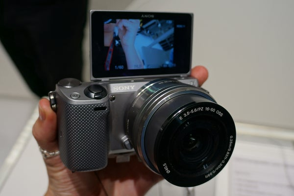 sony nex 5. like the nex-5n, nex-5t has new lcd screen technology that allows you to flip it up 180-degrees. perfect for those impromptu selfies. sony nex 5