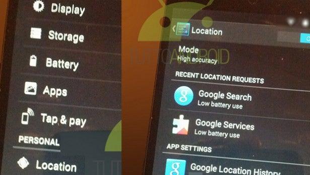 Android 4.4 KitKat running on the Nexus 5