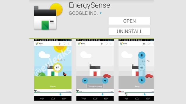 Google EnergySense smart thermostat app