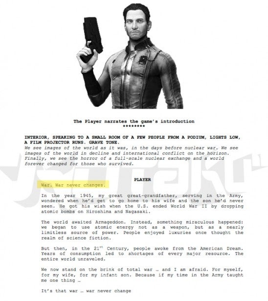 Leaked Fallout 4 casting documents