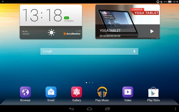 Lenovo Yoga Tablet 10 Homescreen