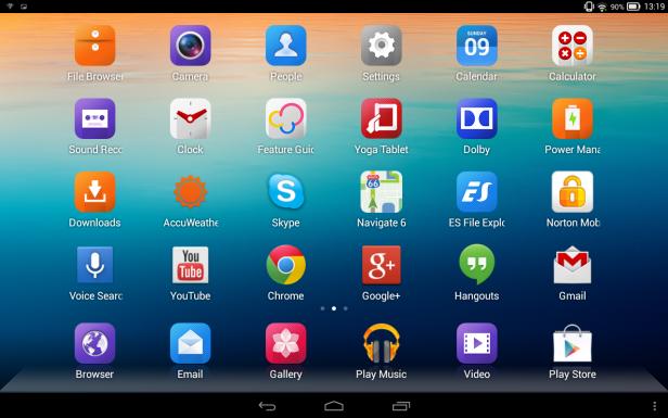Lenovo Yoga Tablet 10 App Selection