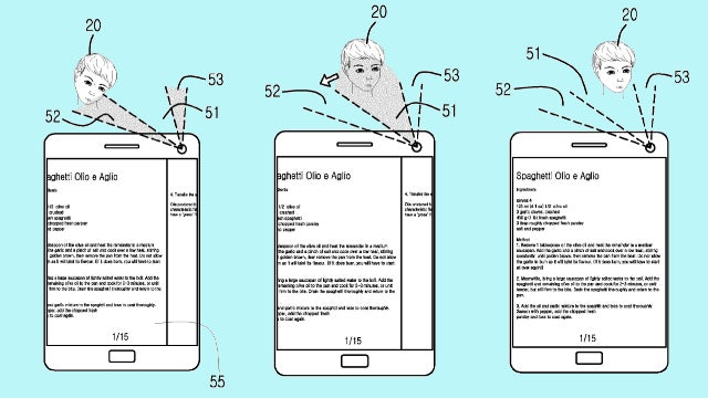 Samsung Galaxy S5 head tracking gesture control patent