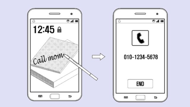 Samsung Galaxy Note 4 handwriting recognition patent