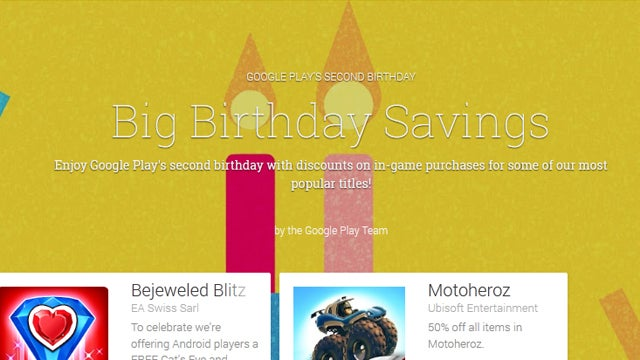 Google Play Birthday savings