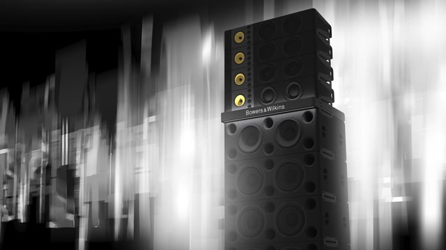 Bowers and Wilkins Sound System speaker stack