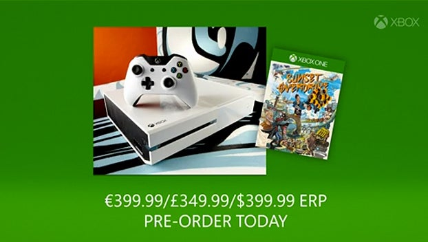 White Xbox One Sunset Overdrive bundle