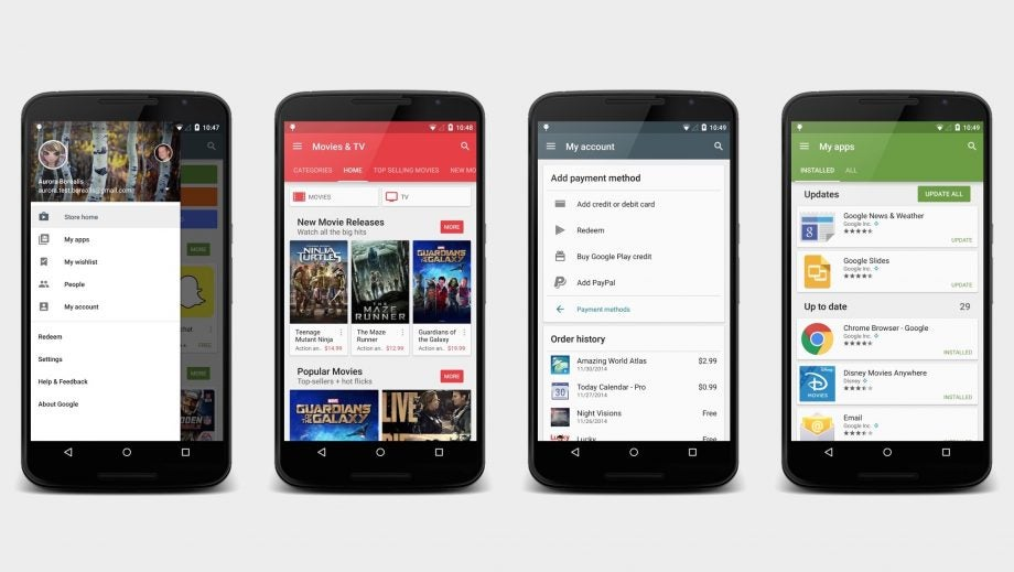 Google play store app next for a material design overhaul Play store app