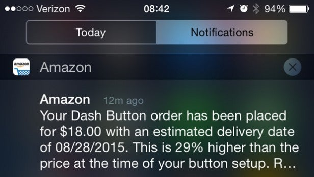 Amazon Dash Notification