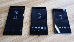 sony xperia z5 premium. left to right: xperia z5 premium, and compact sony premium u