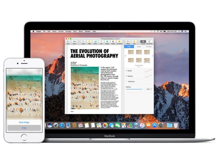 macOS Sierra Universal clipboard