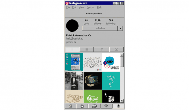 Instagram for Windows 95 UI