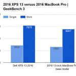 MacBook  Pro vs Dell XPS geekbench