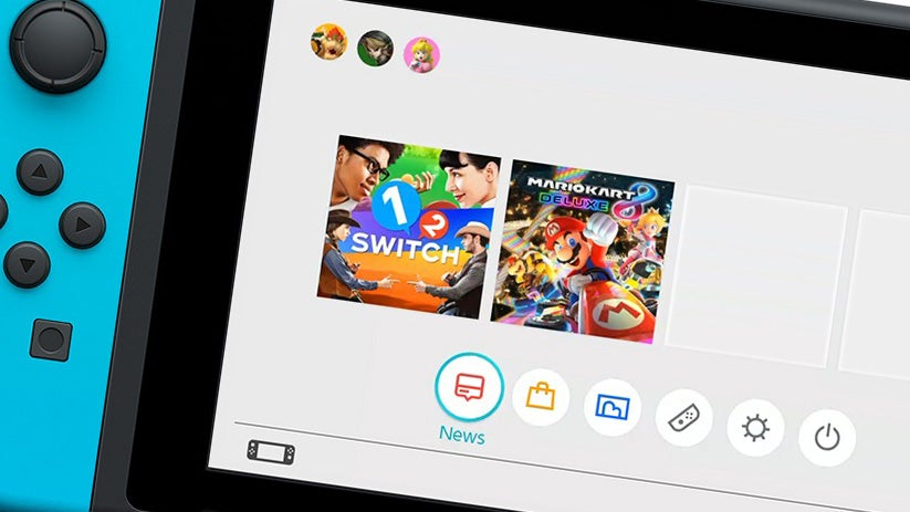 Nintendo Switch homescreen