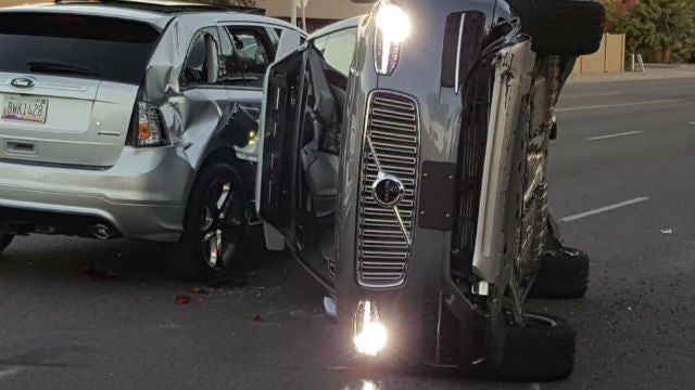 Uber driverless car crash