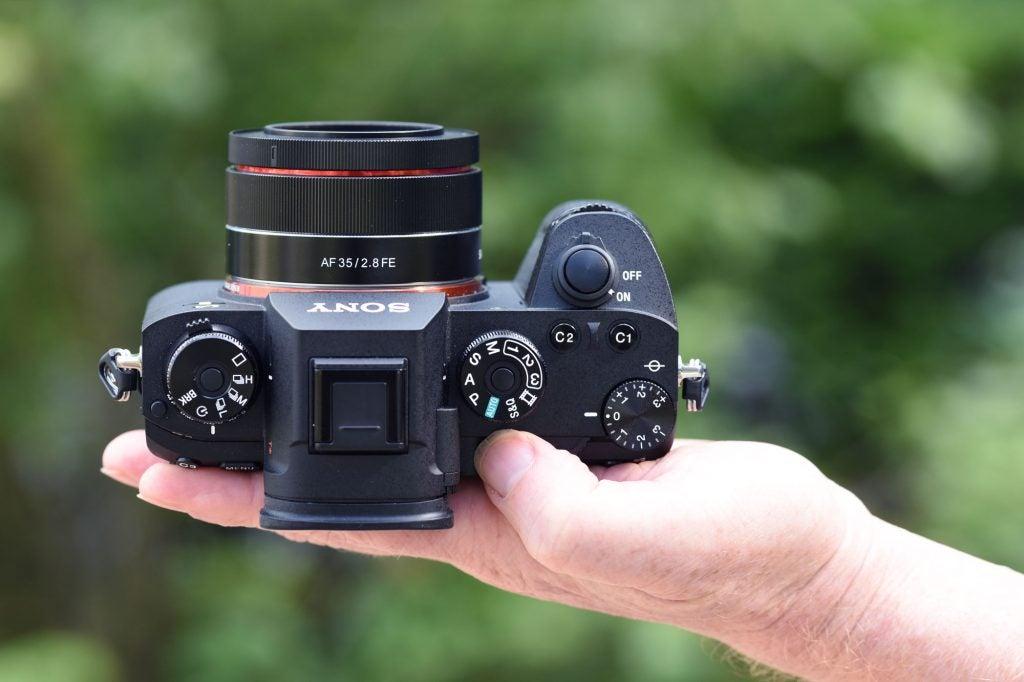 Samyang AF 35mm F2.8 FE in-hand