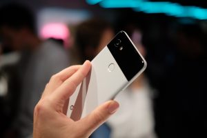 Google Pixel 2 handheld back camera black and white