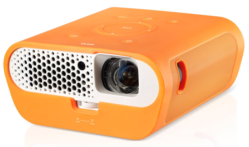 adfef587f9a813 Its rounded sides, unusual rubberised finish and boldly designed front  grille make it look more like a toy than a projector.