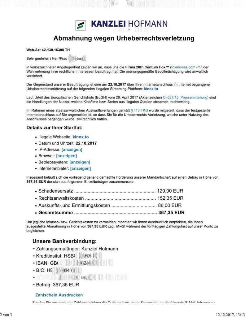 Streaming Illegal Abmahnung