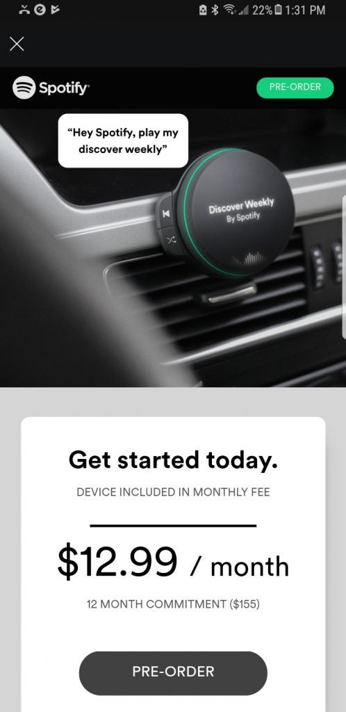 Spotify's long rumoured in-car music player will cost $100