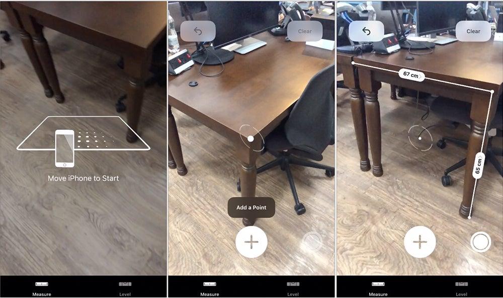 iOS 12 Measure app screenshots