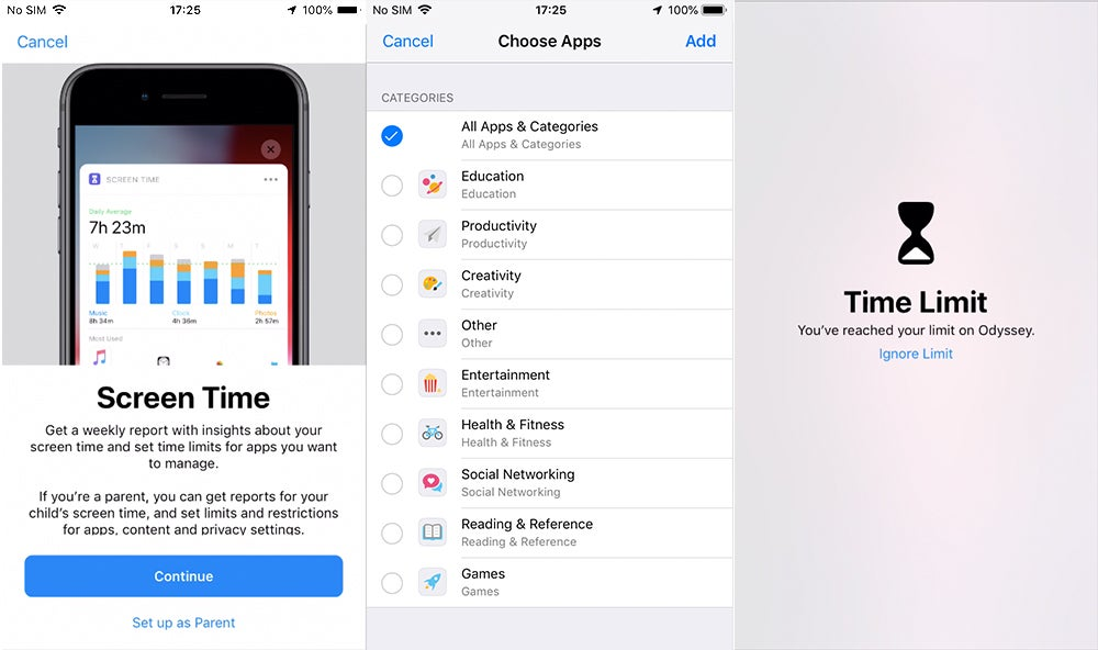 iOS 12 Screen Time screenshots