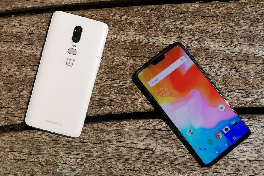 OnePlus 6 Silk White Mirror Black top down