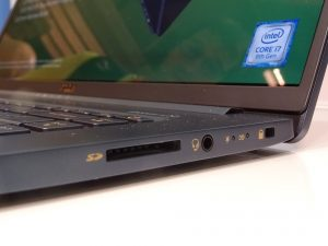 The SD card, 3.5mm headphone jack and lock port sitting on the right hand side of the Acer Swift 5 (2018).