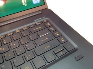 A close up detail of the Acer Swift 5 (2018)'s keyboard.