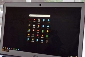 The Acer Chromebook 15 (CB515-1HT) with the Chrome OS app launcher loaded