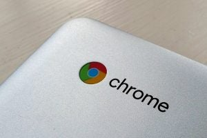 A close-up detail of the Chrome logo on the Acer Chromebook 15 (CB515-1HT).
