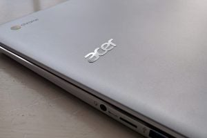 Acer Chromebook 15 (CB515-1HT) closed, with the 3.5mm headphone jack and microSD card slot on display.