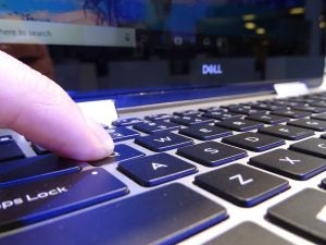 Close up of the Dell Inspiron 14 5000 (5482)'s keyboard.