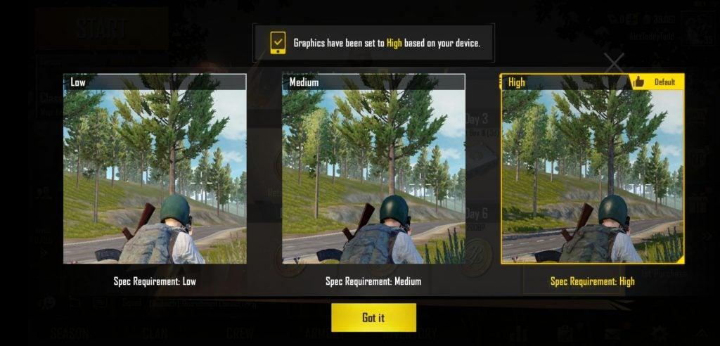 Honor Play ảnh chụp màn hình cài đặt đồ họa PUBG
