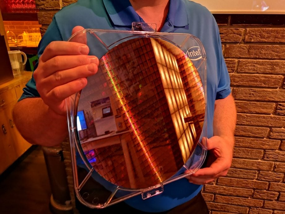 The so-called 'wafer' silicon substrate of an unnamed Intel Whiskey Lake CPU.