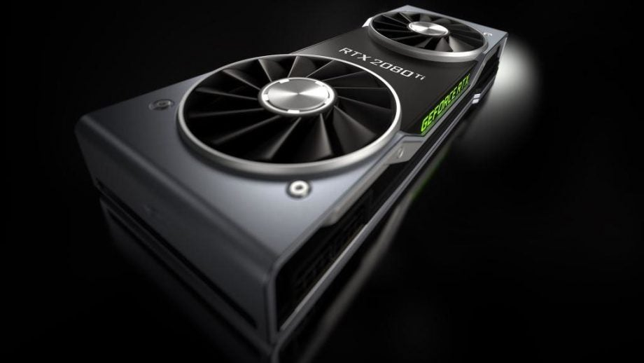 Press render of the Nvidia RTX 2080 Ti, with a close up on the 5x quieter than the 1080 Ti dual fan cooling shroud.