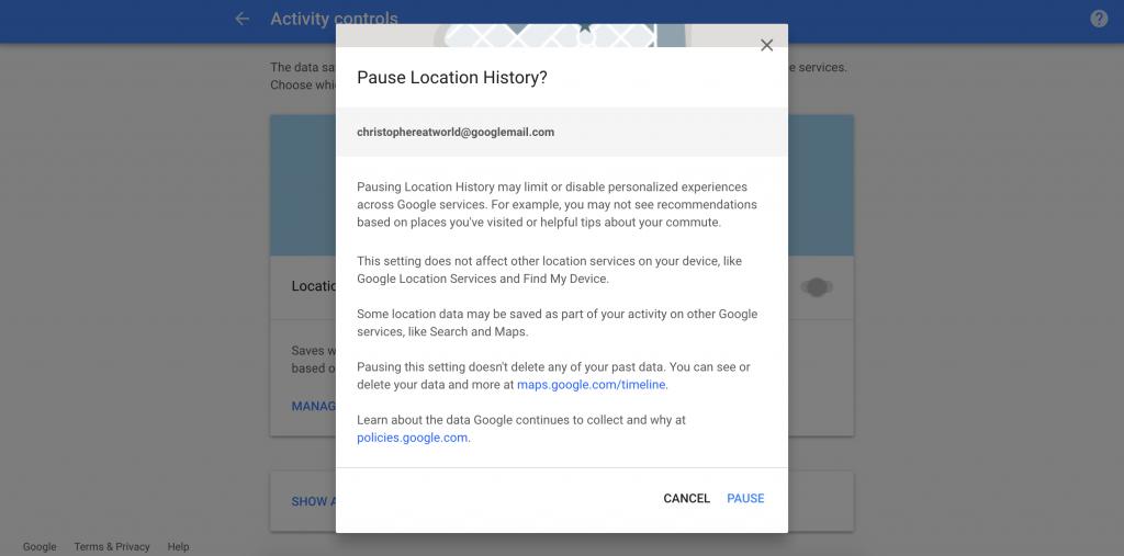 Google Location Pause